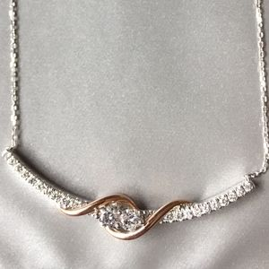 journey diamond necklace rough cut s ebay p white inch love pendant round gold
